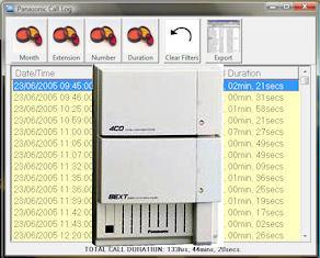 screenshot of panasonic call log